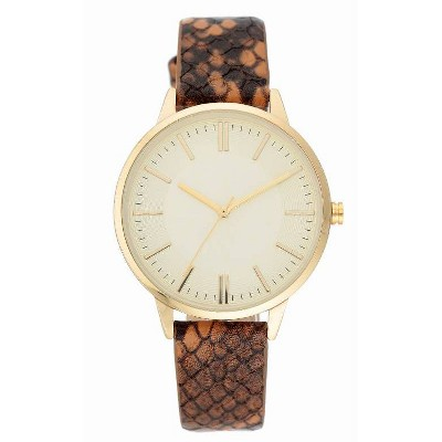 Women's Snakeskin Band Watch - A New Day™ Brown
