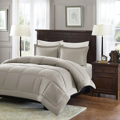Taupe Belford Microcell Down Alternative Comforter Set Set Full/Queen 3pc