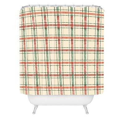 Pimlada Phuapradit Christmas Tartan Shower Curtain Red - Deny Designs