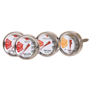 Taylor 4pk Stainless Steel Leave-in Meat Button Thermometers