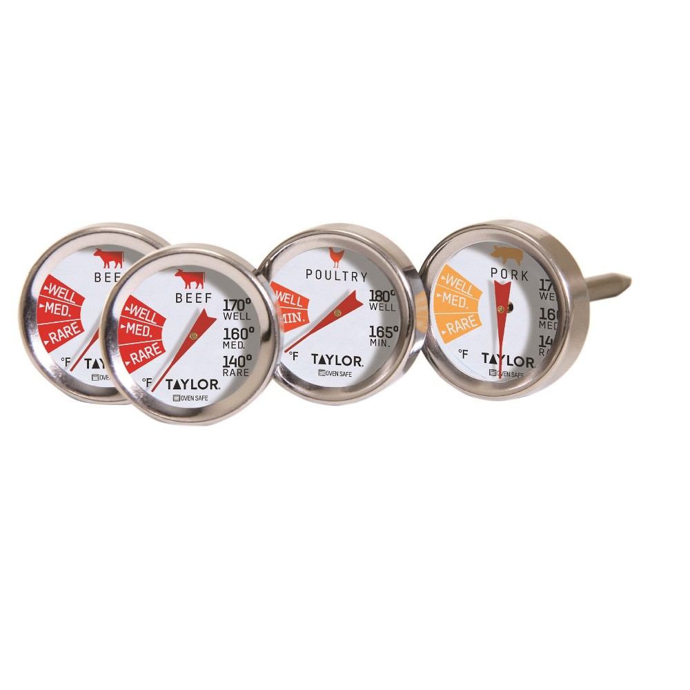 Image of Taylor 4pk Stainless Steel Leave-in Meat Button Thermometers