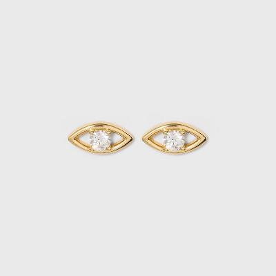 SUGARFIX by BaubleBar 14K Gold Plated Delicate Evil Eye Stud Earrings - Gold