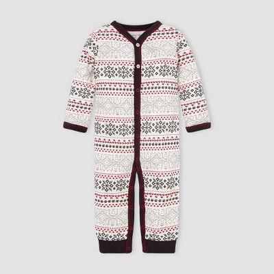 Burt's Bees Baby® Baby Girls' Organic Cotton Snowy Fair Isle Jumpsuit - White 9M