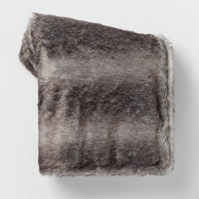 Faux Fur with Sherpa Reverse Throw Blanket - Threshold™