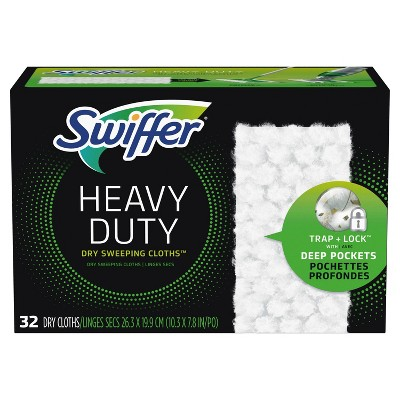 Swiffer Sweeper Heavy Duty Multi-Surface Dry Cloth Refills for Floor Sweeping and Cleaning - 32ct