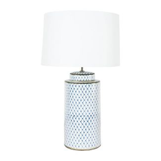 Ceramic Table Lamp with Linen Shade Indigo/White - Creative Co-Op