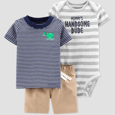 Baby Boys' 3pc Alligator Embroided Stripe Top and Bottom Set - Just One You® made by carter's Blue/Gray/Khaki 3M