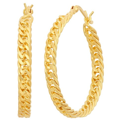 Gold Over Silver Curb Chain Hoop Earrings - image 1 of 1