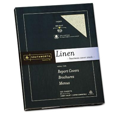 Southworth 25% Cotton Linen Copy/Inkjet/Laser Coverstock 65 lbs Letter Ivory 100 Sheets Z560CK
