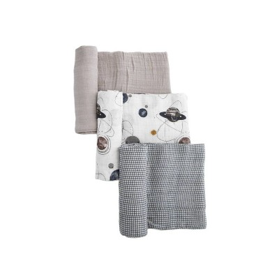 Little Unicorn Cotton Muslin Swaddle Blanket - Planetary 3pk