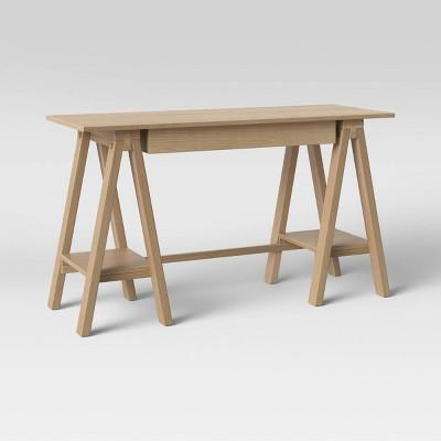 Burke Trestle Wooden Desk with Drawer Natural - Threshold™