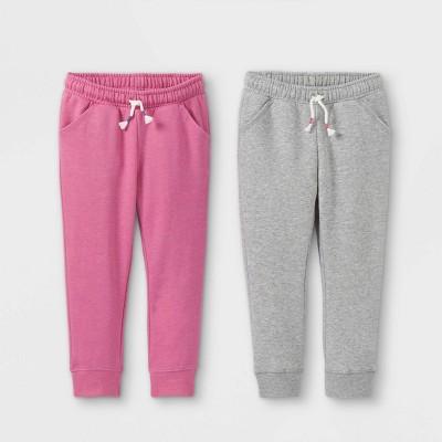 Toddler Girls' 2pk Fleece Jogger Pants - Cat & Jack™ Pink/Gray
