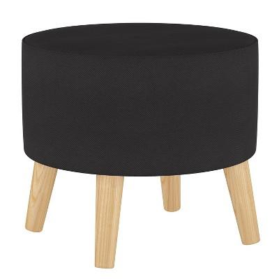 Round Ottoman with Splayed Legs Twill Black - Skyline Furniture