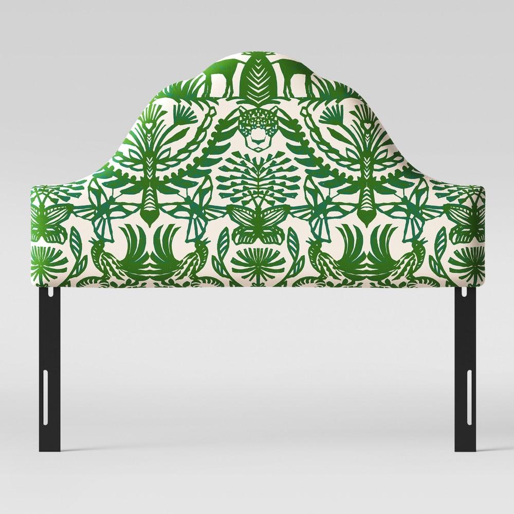 California King Zinnia Arched Headboard Green & Cream Animal Print - Opalhouse