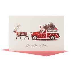14ct Deluxe Deer Pulling Stationwagon Christmas Boxed Greeting Cards and Red Envelopes