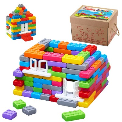 ECR4Kids Big Building Bricks with Windows & Doors - Sensory Toddler Toy - 140 Piece