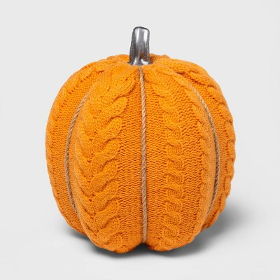 Large Cable Knit Soft Fabric Harvest Pumpkin (with Contrast Jute Base)- Spritz™