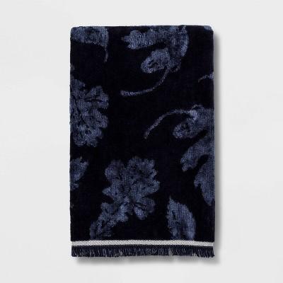 Harvest Leaves Velour Hand Towel Dark Blue - Threshold™
