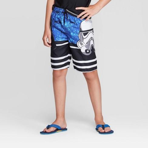 Boys' Star Wars Swim Trunks - Blue/Black - image 1 of 3