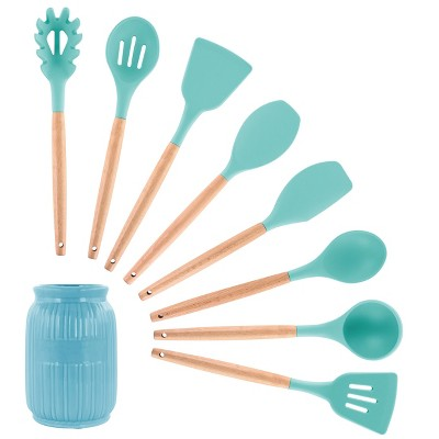 MegaChef 9 Piece Gray Silicone and Wood Cooking Utensils