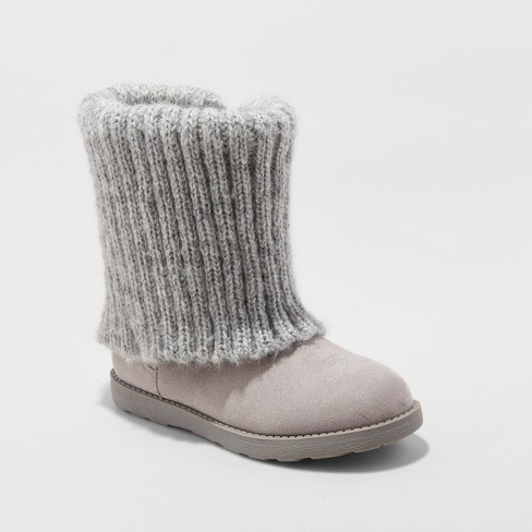 Girls' Orinda Fashion Boots - Cat & Jack™ Gray - image 1 of 3