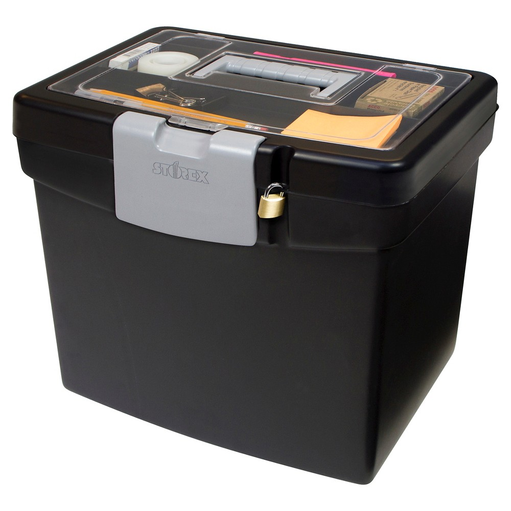 Storex Portable File Box with Lockable Lid - Black with Clear Top