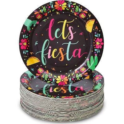 """Sparkle and Bash 80-Pack Let's Fiesta Party Supplies, Mexican Theme Disposable Paper Dinner Plates, Cinco de Mayo, 9"""""""