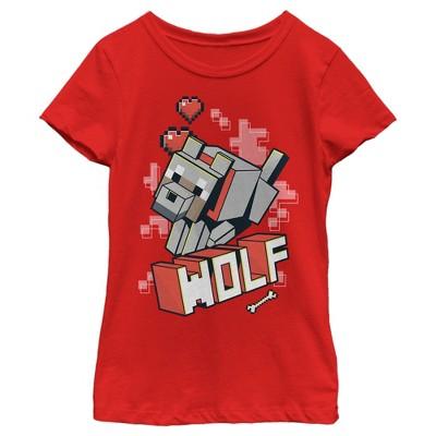 Girl's Minecraft Wolf T-Shirt