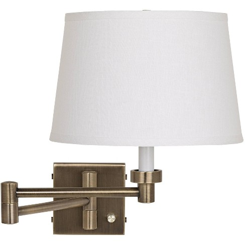 Barnes and Ivy Modern Swing Arm Wall Lamp Antique Brass Plug-In Light Fixture White Linen Drum Shade for Bedroom Bedside Reading - image 1 of 2