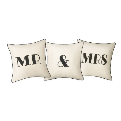 """Celebrations Embroidered Appliqued """"Mr & Mrs"""" Pillow Oyster/Black - Edie @ Home"""