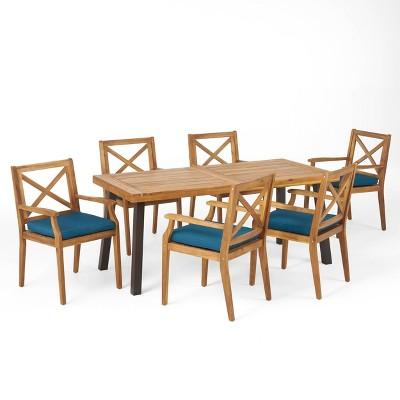 Juniper 7pc Acacia Wood Dining Set - Teak/Blue - Christopher Knight Home