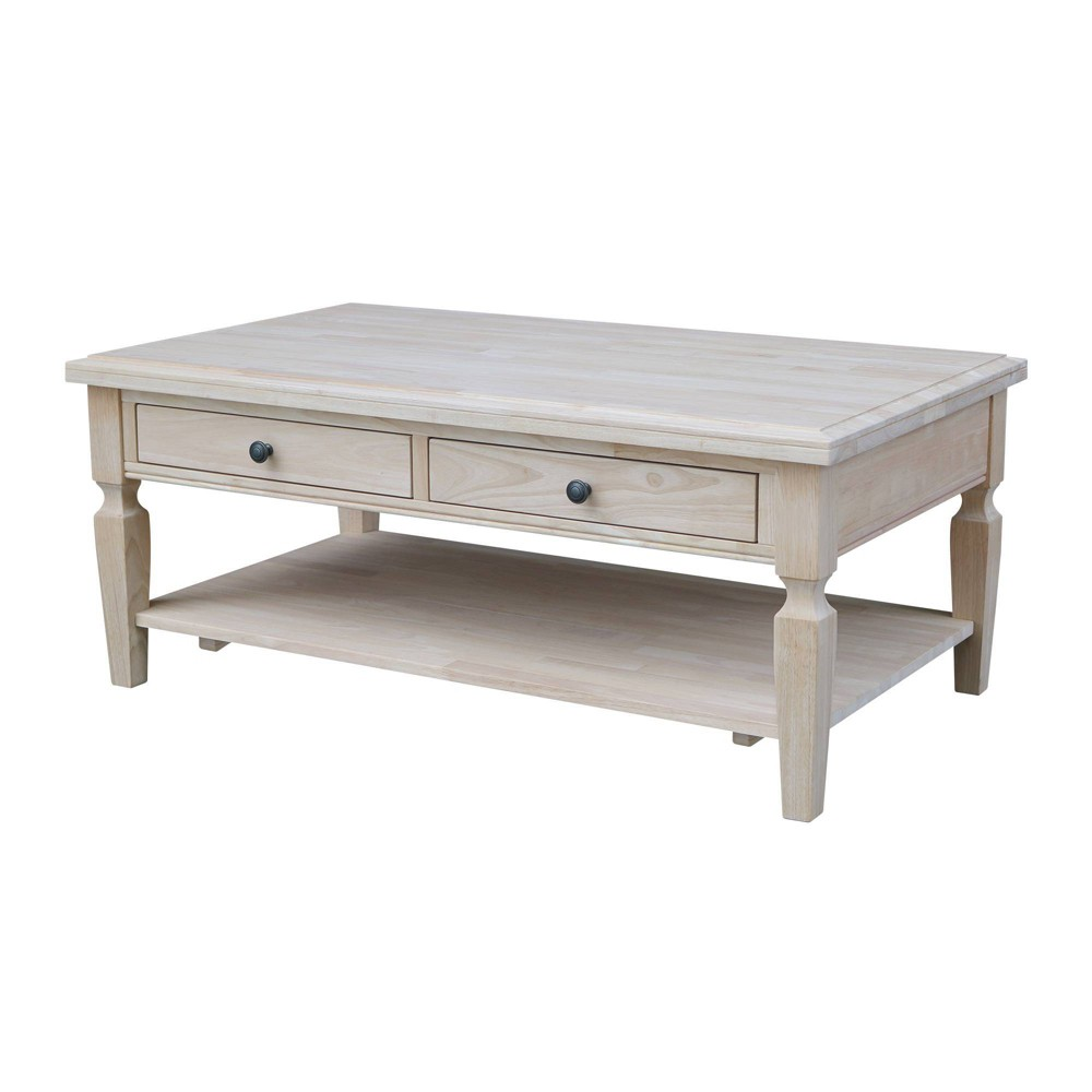 Vista Coffee Table Unfinished - International Concepts, Brown