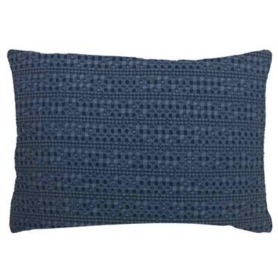 Oversized Lumbar Washed Waffle Pillow Navy - Threshold™