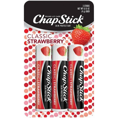 Chapstick Classic Lip Balm - Strawberry - 3ct/0.45oz