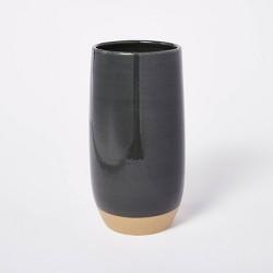 "11.25"" x 5.25"" Decorative Bottle Vase Stoneware with Exposed Clay Gray - Threshold™ designed with Studio McGee"