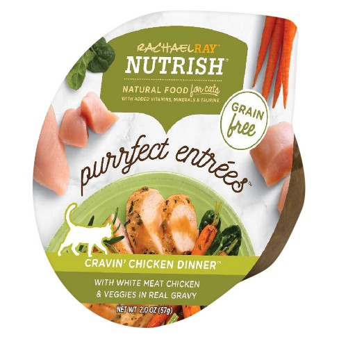 Rachael Ray Nutrish Natural Purrfect Entrees Cravin' Chicken Dinner with Meat Chicken & Veggies in Real Gravy Wet Cat Food - 2oz - image 1 of 1