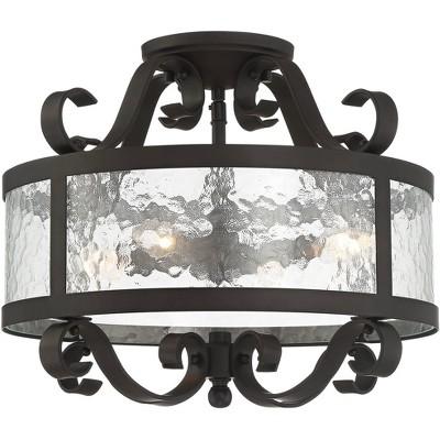 "Franklin Iron Works Ceiling Light Semi Flush Mount Fixture Black Bronze Scroll 16 1/2"" Wide 4-Light Water Glass Bedroom Kitchen"