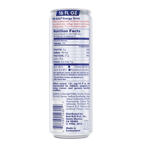 All About Nutrition Red Bull Nutrition Facts Caffeine