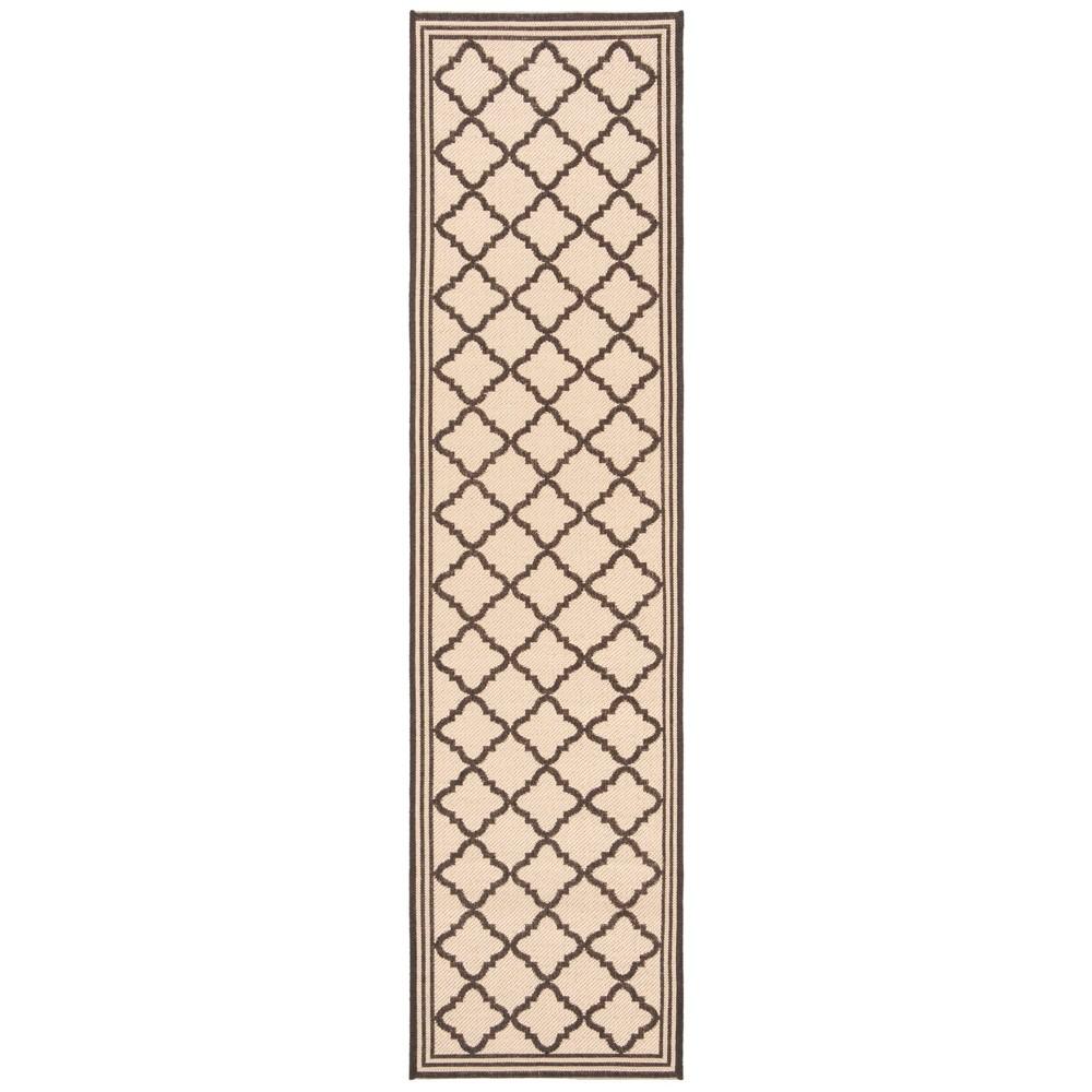 2'X8' Quatrefoil Design Loomed Runner Cream/Brown (Ivory/Brown) - Safavieh