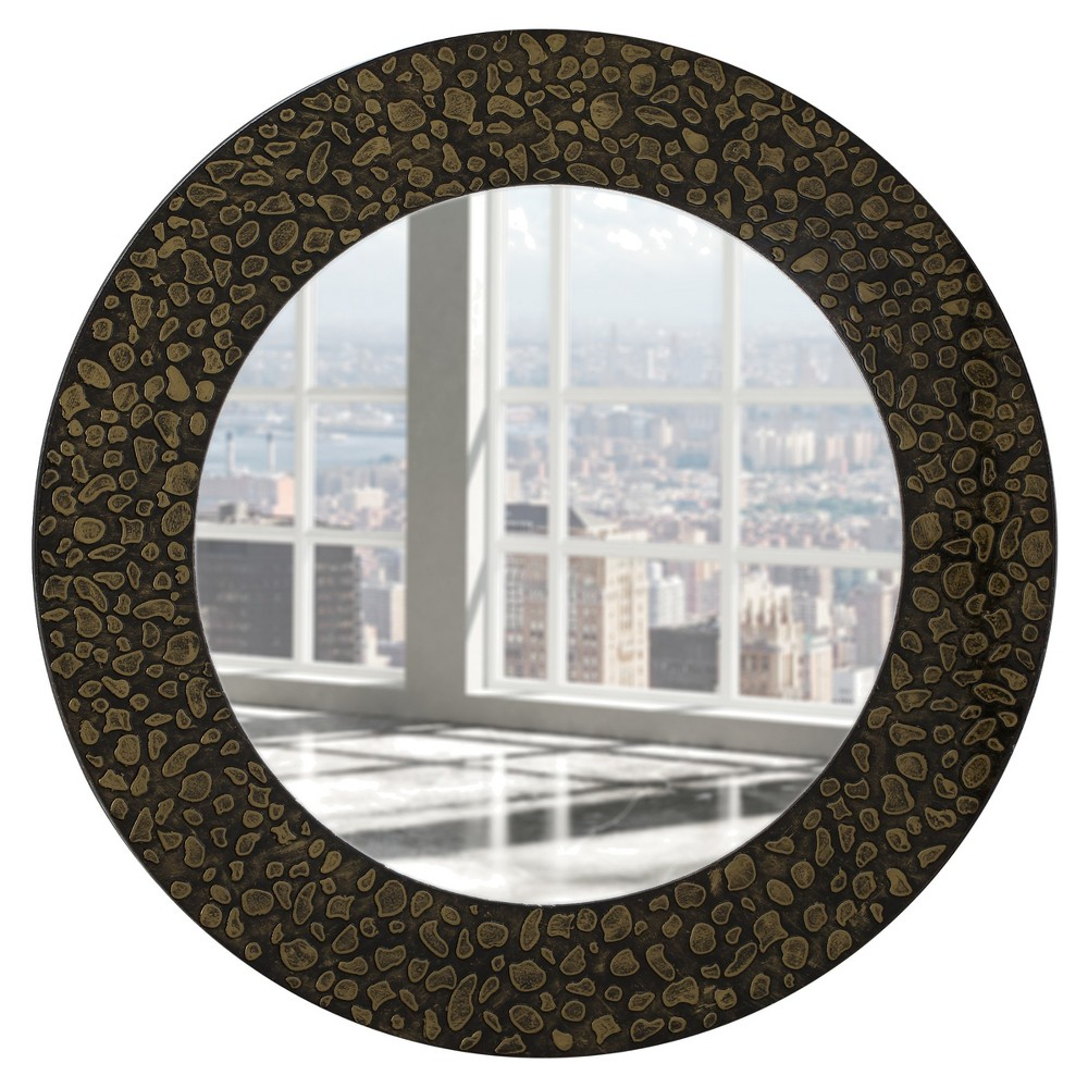 Circular Beveled Frameless Wall Mirror with Mirrored Beveled Edge and Embossed Stones Design Antique Gold 24 - Breeze Point