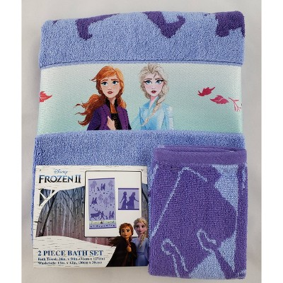 Disney Frozen Bath Towel Wash Cloth Set
