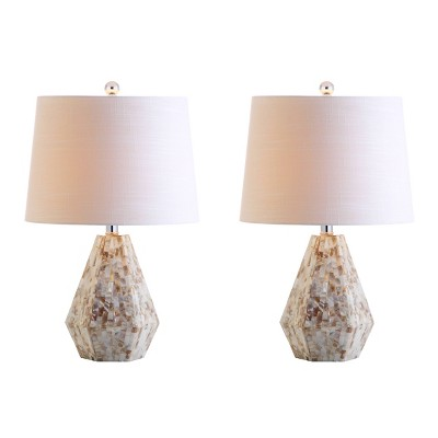 "21"" (Set of 2) Isabella Seashell Table Lamp (Includes LED Light Bulb) Natural - JONATHAN Y"