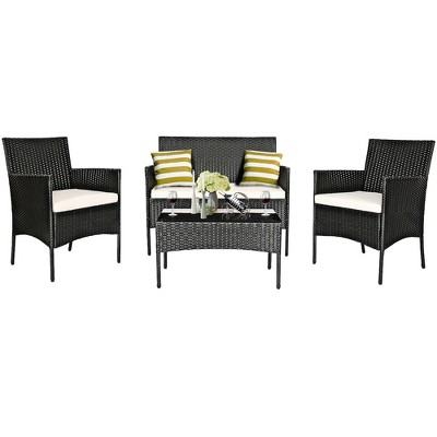 Costway 4PCS Patio Rattan Furniture Set Cushioned Sofa Coffee Table Backyard Porch