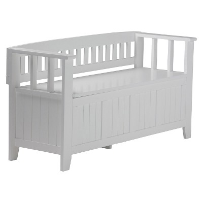 """48"""" Normandy Solid Wood Entryway Storage Bench White - Wyndenhall"""
