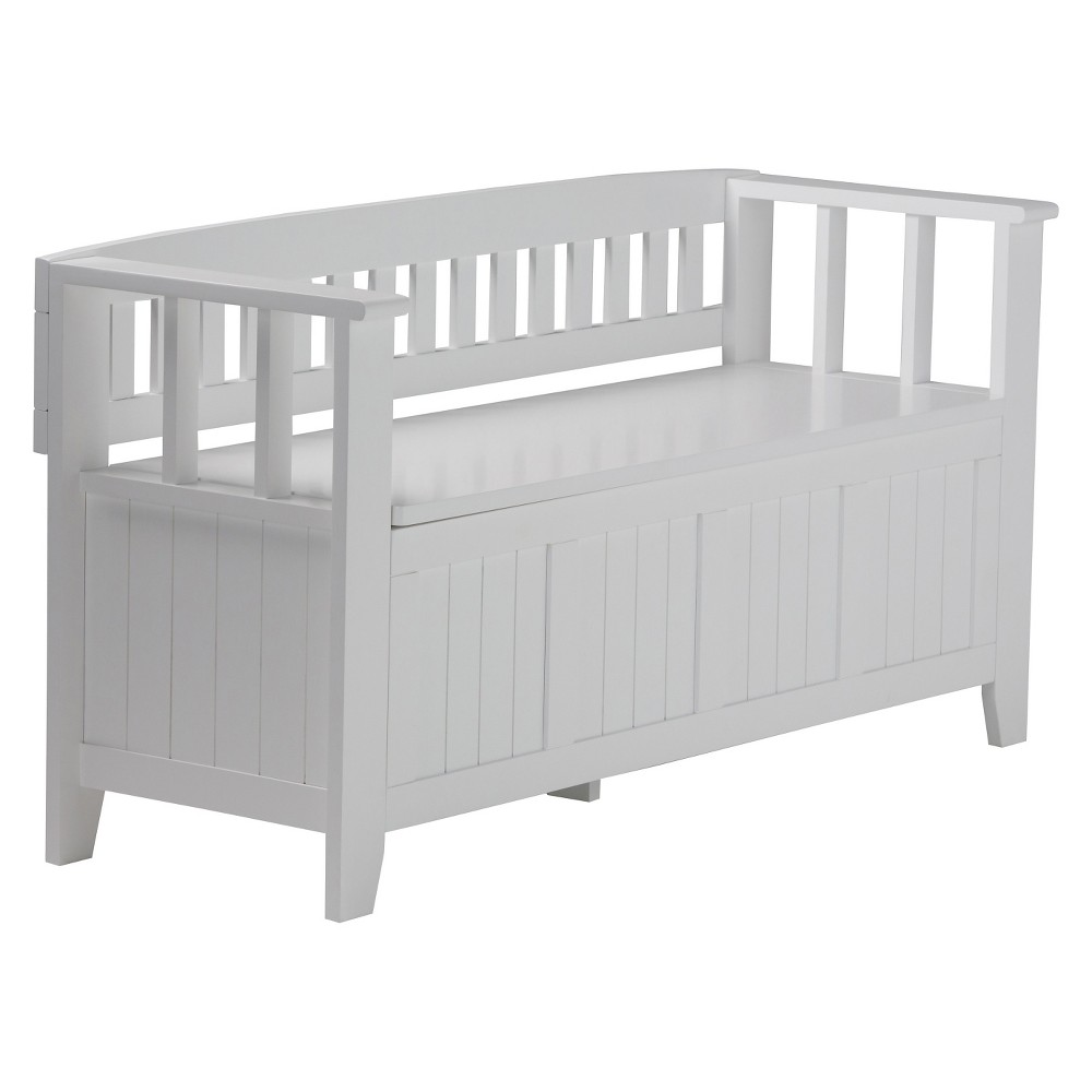 Normandy Solid Wood Entryway Storage Bench White - Wyndenhall