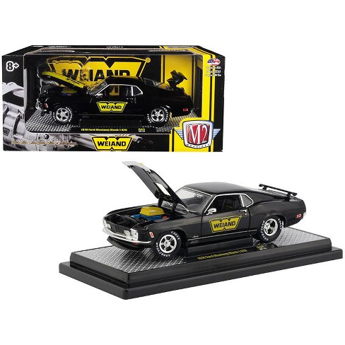 "1970 Ford Mustang Mach 1 428 ""Weiand"" Gloss Black with Yellow Stripe Ltd 5,800 pcs 1/24 Diecast Model Car by M2 Machines - image 1 of 1"