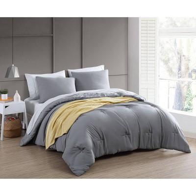 King 8pc Anniston Enzyme Washed Comforter Set w/Throw Dark Gray - Geneva Home Fashion