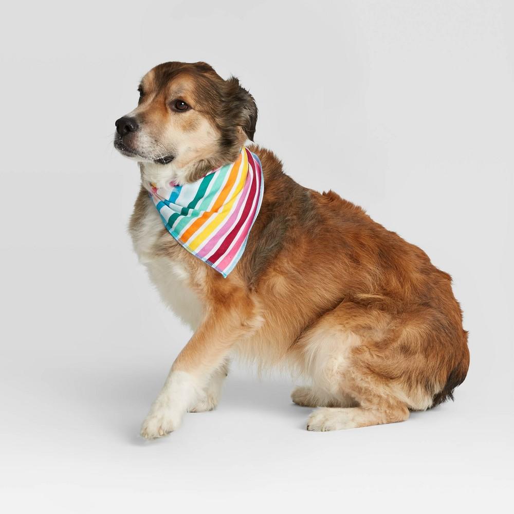 Image of Pet Striped Bandanna - Rainbow One Size, MultiColored
