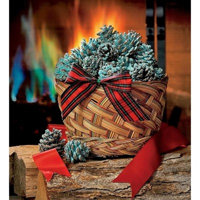 Plow & Hearth - Fireplace Color Changing Cones in Gift Basket