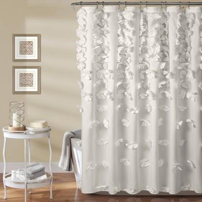 """72""""x72"""" Riley Shower Curtain White - Lush Décor"""